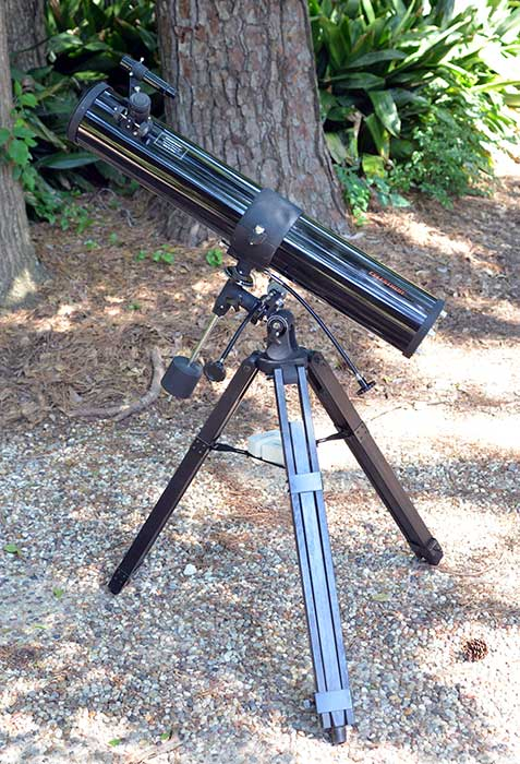 My first piece of astronomy equipment, a Celestron 114 telescope